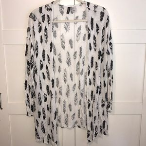 H&M sweater sheer white with black feathers